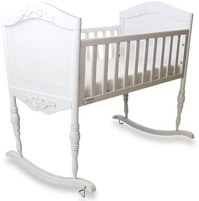 Antique White Cradle | Handcrafted Elegant Wood Baby Cradle by Green Frog